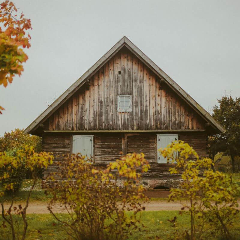 drewniany dom wśród zieleni guzikfotografuje